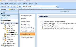 Enable macros in Outlook