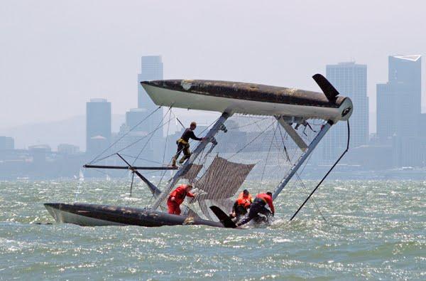 Peter Stoneberg's Formula 40 catamaran Shadow was racing on San Francisco ...