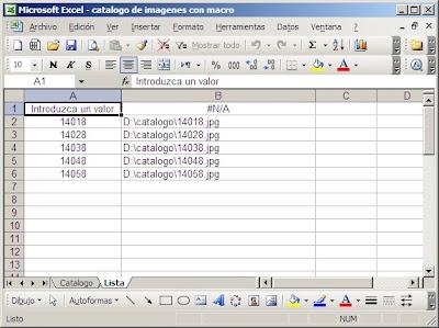 Catálogo de Imágenes en Excel