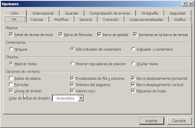 líneas de división en Excel 2003