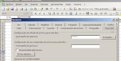 cuadernos Excel con contraseña