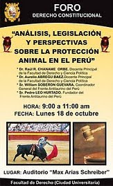 "FORO: ""ANALISIS,LEGISLACION Y PERSPECTIVAS SOBRE LA PROTECCION ANIMAL"""