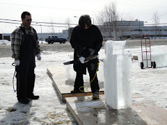 the making of an ice sculpture