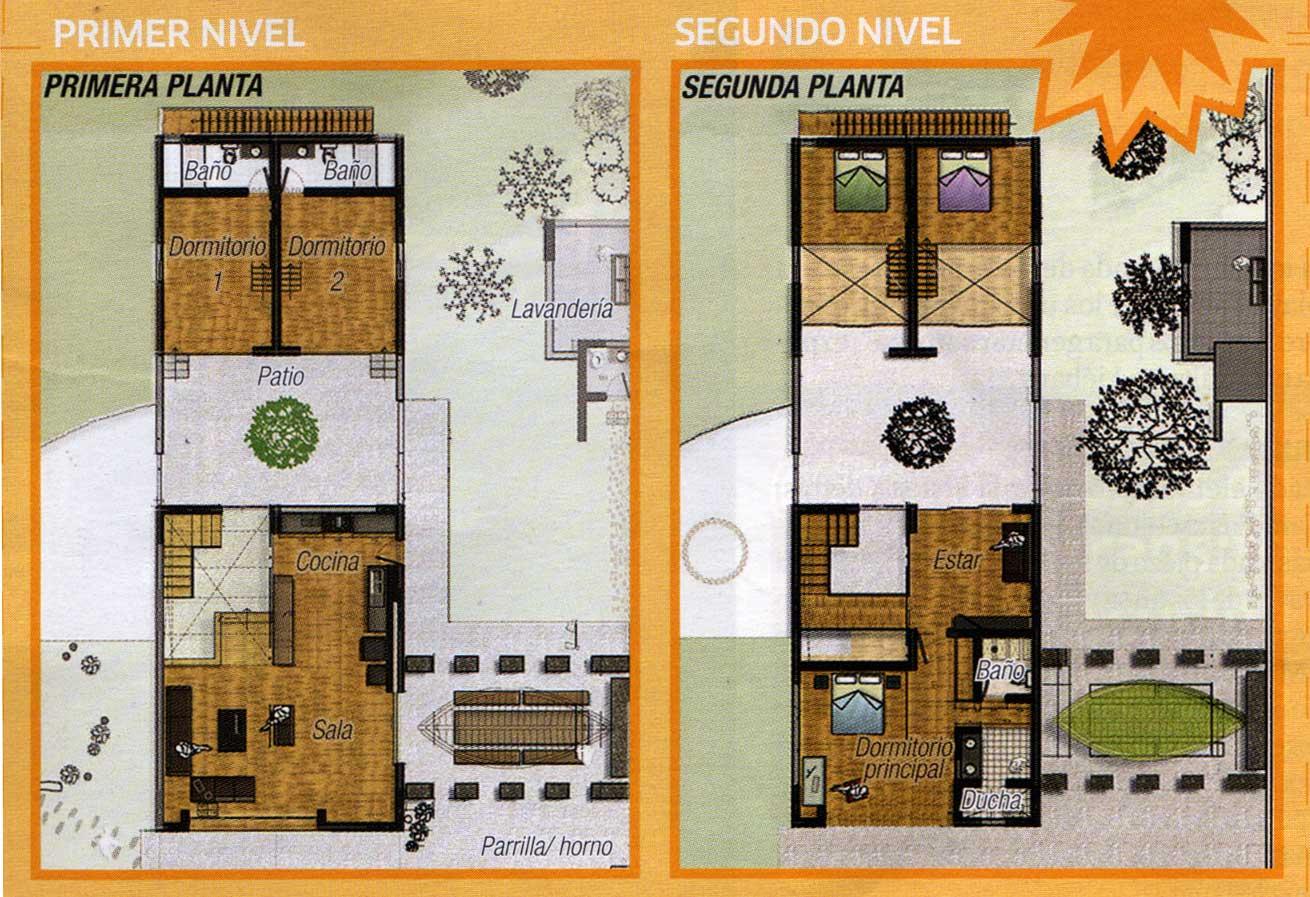 planos de casas de dos pisos de 80m2