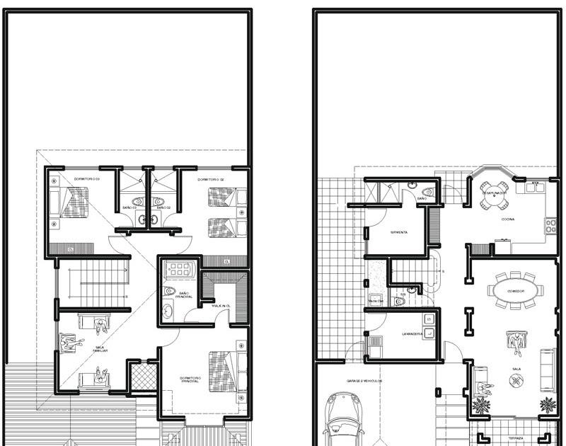 Plantas de casas de 2 pisos for Planos arquitectonicos de casas de dos plantas