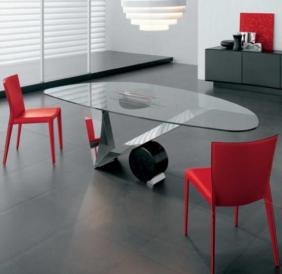 Mesas de comedor de vidrio con bases muy originales home - Mesas de comedor originales ...