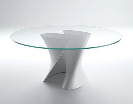 Mesas de comedor de vidrio con bases muy originales Fabrica de bases para mesas