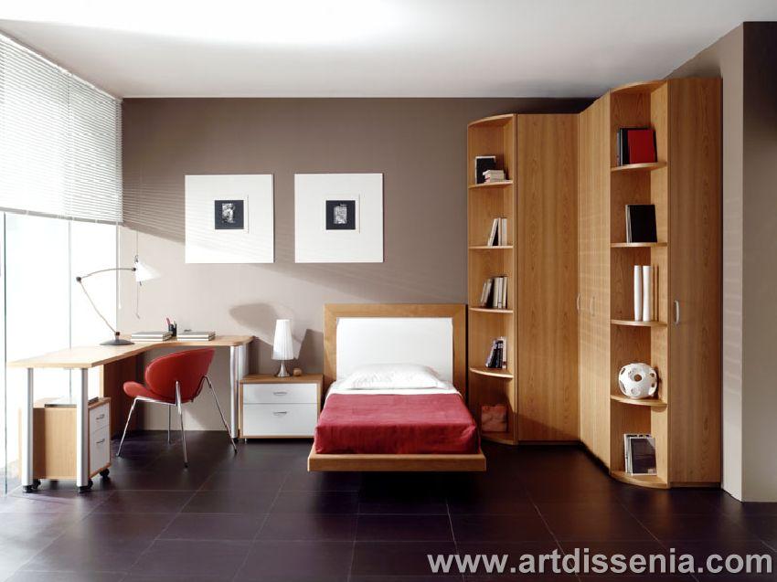 Dormitorio juvenil y elegante con closet en esquina ...