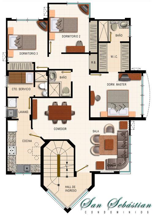 Interior design plano de departamento de 4 dormitorios for Planos de casas rusticas gratis