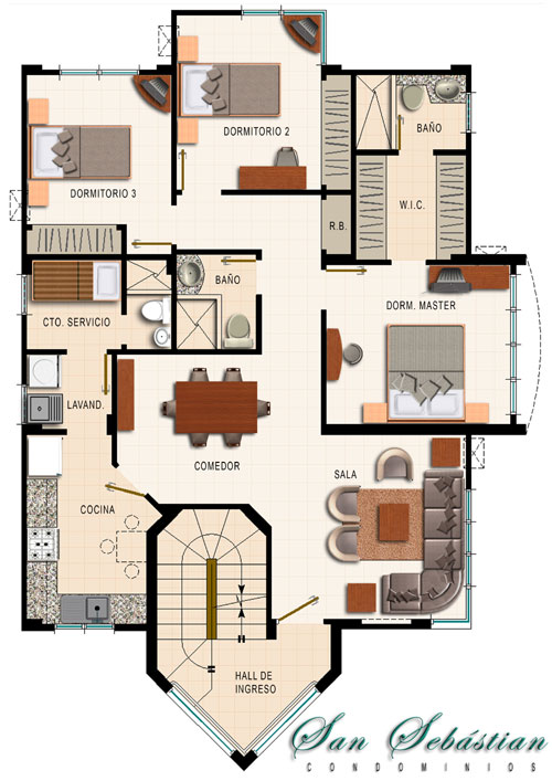 Interior design plano de departamento de 4 dormitorios for Planos arquitectonicos de casas