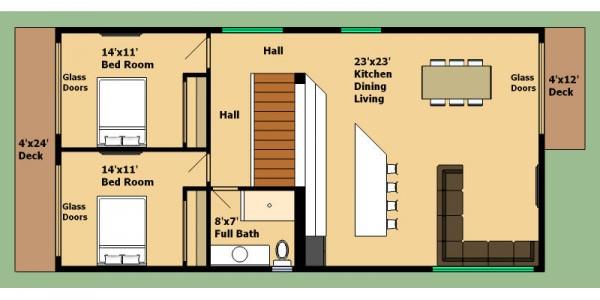 Plano de casa de 2 pisos 4 dormitorios y 160 metros for Dormitorio 15 metros cuadrados