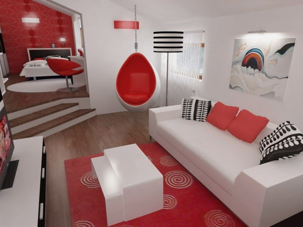 moderno dormitorios: Dormitorio en 3D de colores rojo y blanco con ...