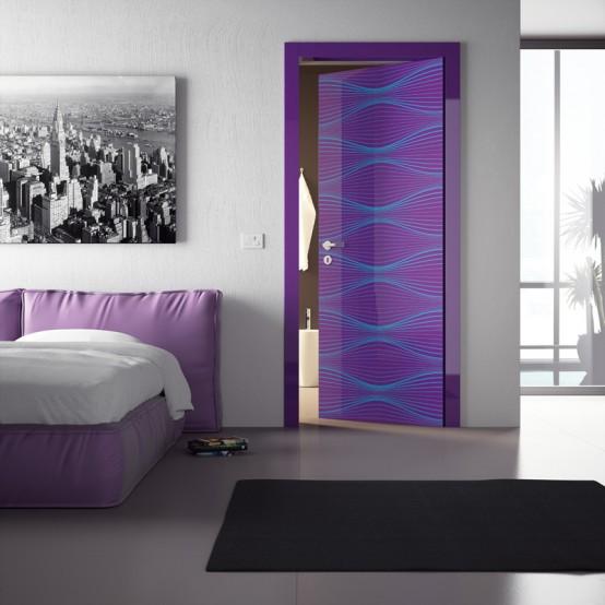 Modernas puertas de interior de diversos colores y for Puertas para dormitorios modernas