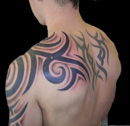 the upper arm tribal tattoo.