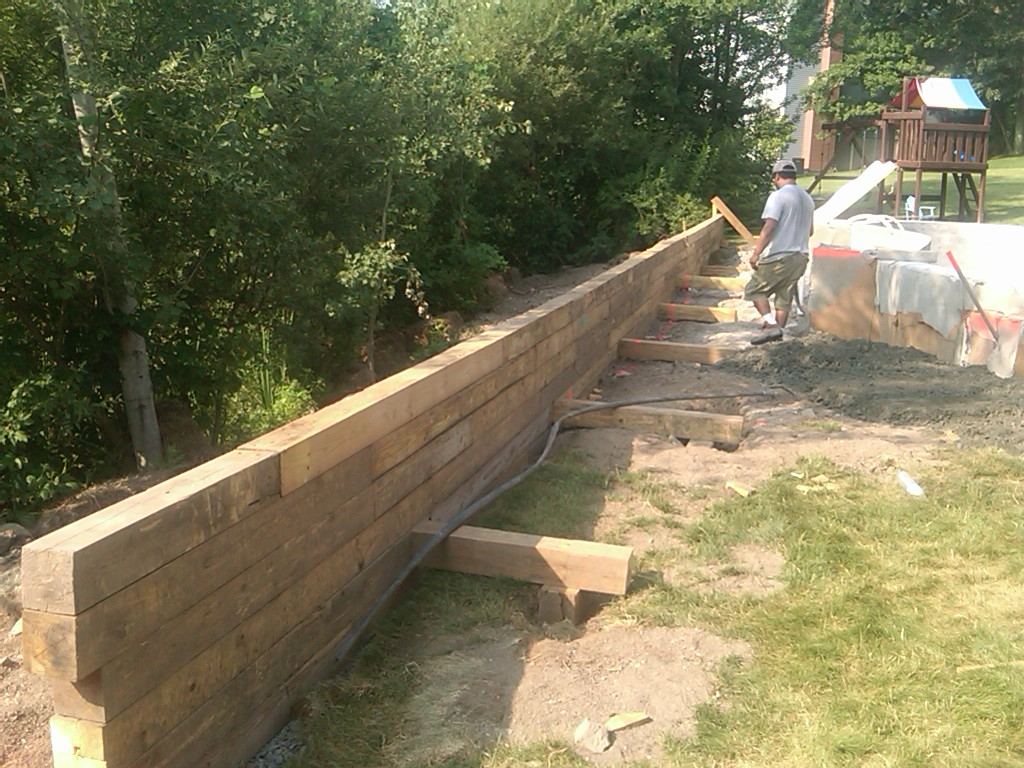 Pool Build 2010 New Timber Retaining Wall And Backfill