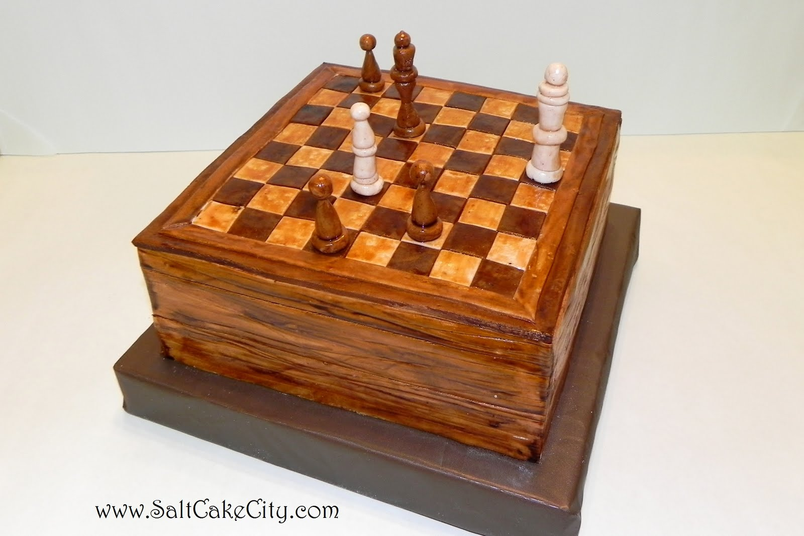 Salt Cake City Wooden Chess Board Cake