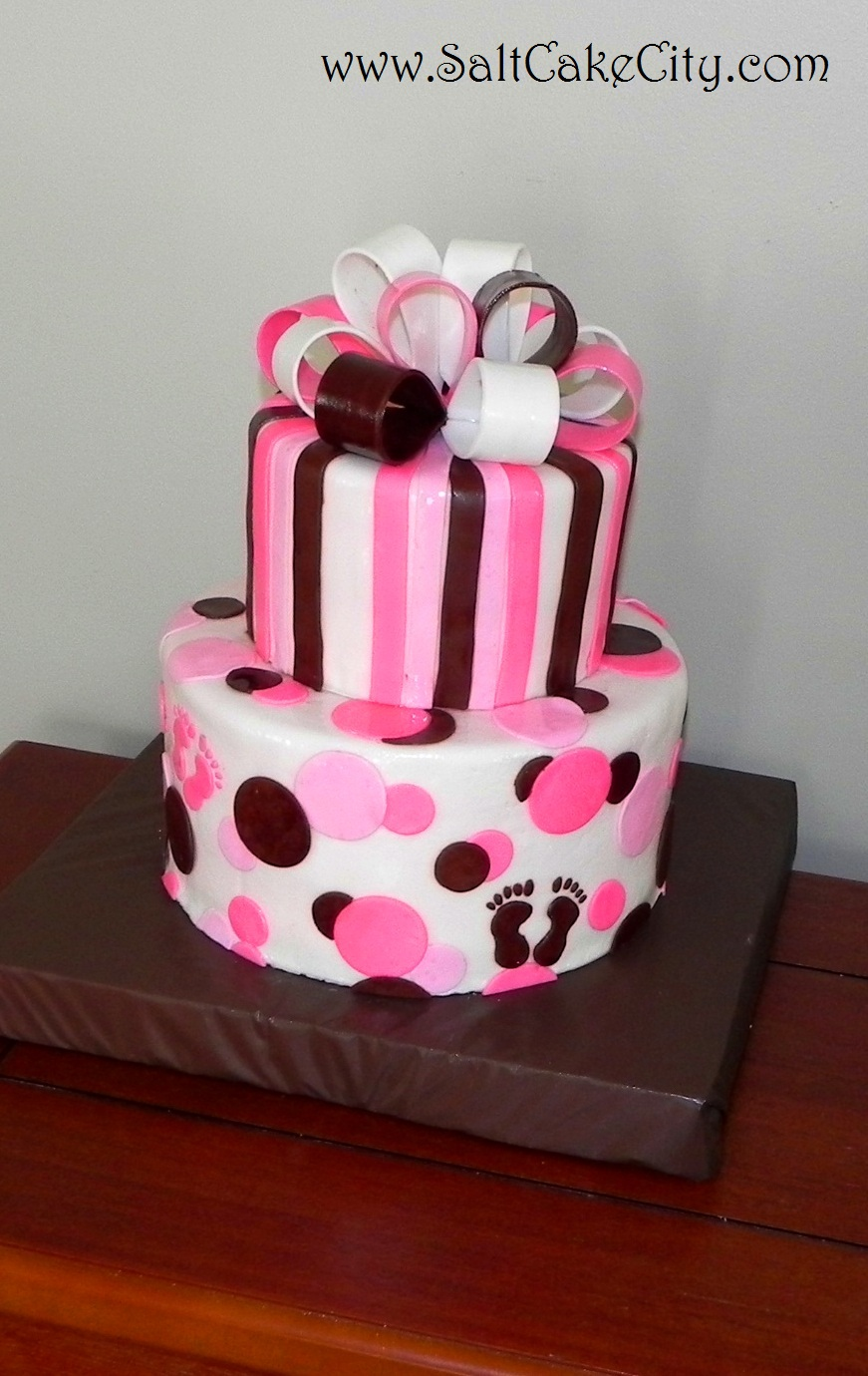Salt Cake City: Pink and Brown Baby Shower Cake