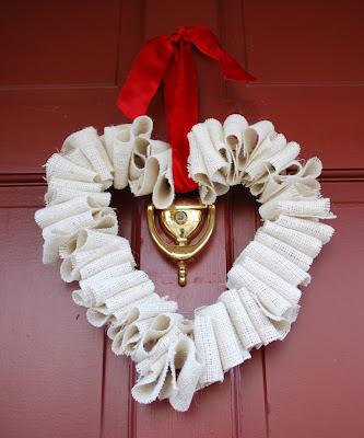 white burlap heart wreath with tutorial