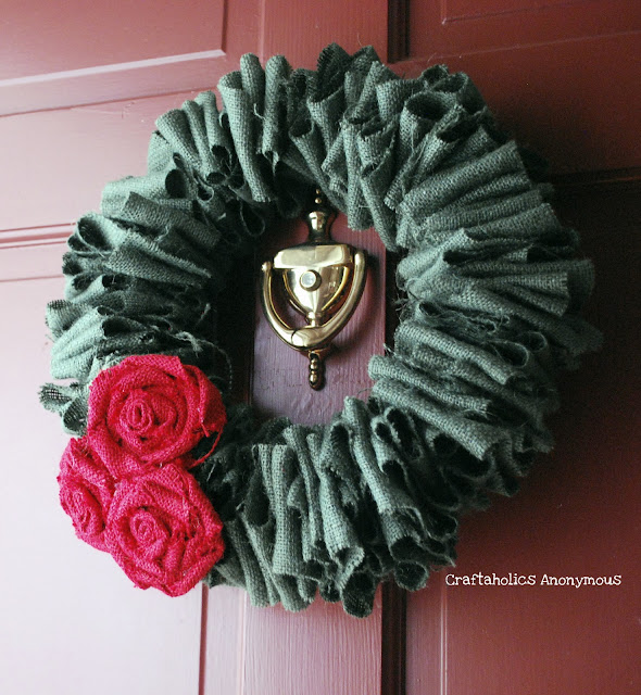 Handmade Burlap Rose Flower Wreath Tutorial :: Craftaholics Anonymous