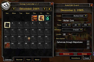GroupCalendar World of Warcraft Addon, WoW Addon, WoW Addons