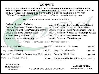 Posse dos academicos aspirantes da Academia Valeparaibana de Letras e Artes   AVLA