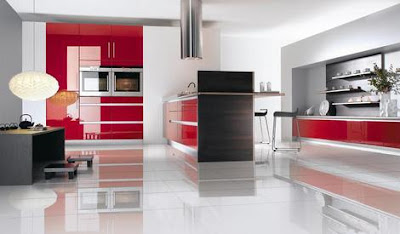 Red Kitchen With East Nuance