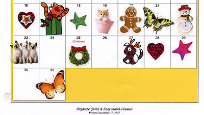 new bead embroidery book by Robin Atkins, motivation stickers on calender