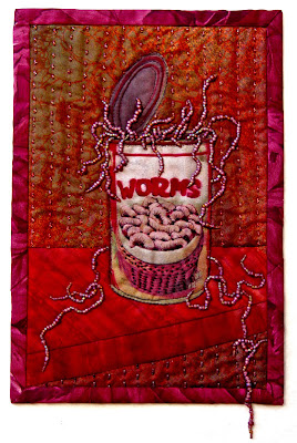 Thom Atkins, beaded quilt, bead journal project, November, Can of Worms