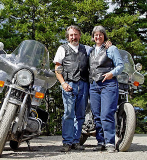 Robin Atkins with husband, Robert Demar on motorcycle ride