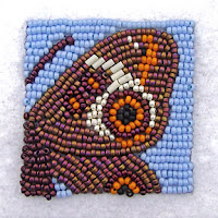 bead embroidery by Robin Atkins, Common Buckeye Butterfly