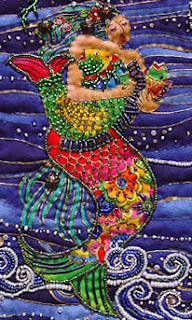 bead embellished quilt by Thom Atkins, Laurel's Mermaid, detail