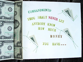 improvisational bead embroidery by Robin Atkins, hand-made book, Money Madness, inside page