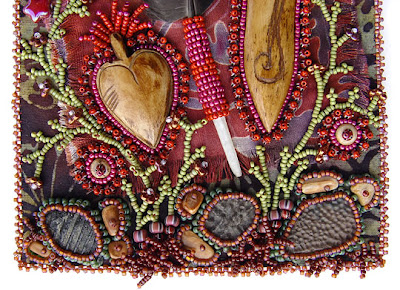 bead embroidery, improvisational, by robin atkins, bead artist, detail of bead journal project for October, title is Respect