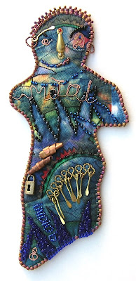 doll by Kaite, metal and indigo, bead journal project