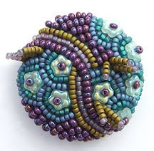 improvisational bead embroidery, robin atkins, beaded button