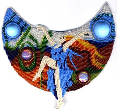 Dancer, bead embroidery by Kali Tal, March BJP piece