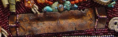 bead embroidery collage by Robin Atkins, bead journal project, detail of rusty plate