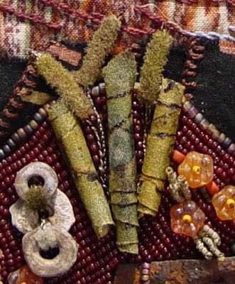 bead embroidery collage by Robin Atkins, bead journal project, detail of rolled silk beads and fuzzy trim