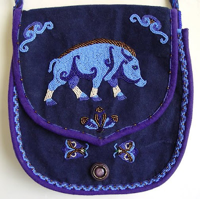bead embroidery, hand made purse, celtic boar design, Janet Dann