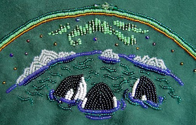bead embroidery, orca whales, Janet Dann