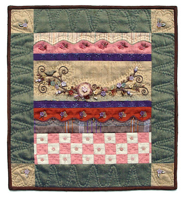 bead embroidery, hand quilted by Robin Atkins