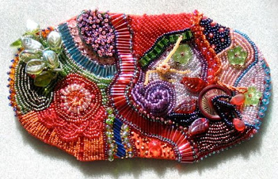 bead embroidery pouch by Mary Tod, shown open