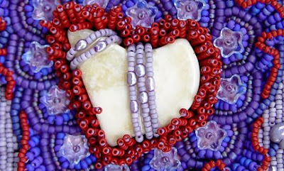 Christy H, bead journal project, bead embroidery, detail