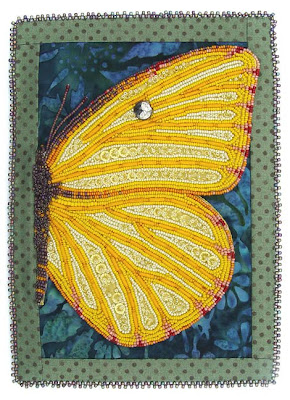 bead embroidery, mom's butterfly, with fabric border, by robin atkins