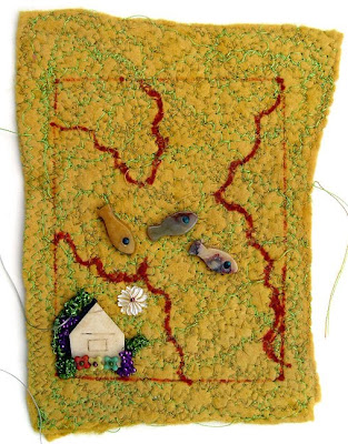 bead embroidery on felt by Elaine Hartley