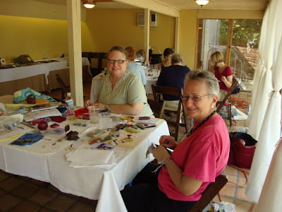 students, bead embroidery class by Robin Atkins