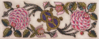 Corinne McAuley, beaded tapestry, peyote stitch, Peonies