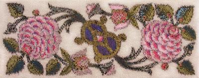 Corinne McAuley, beaded tapestry, peyote stitch, Peonies