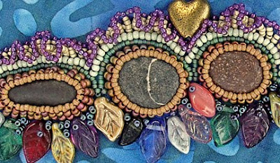 bead embroidery by Robin Atkins, detail of bead bezels for pebbles