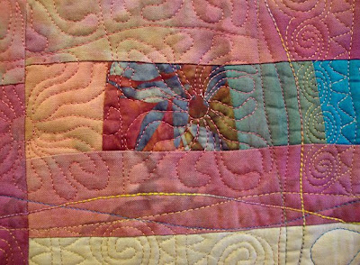 art quilt by Cinda Langjahr, A Clearing in the Woods, detail